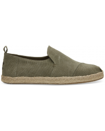 Olive Washed Canvas Men's Deconstructed Alpargata
