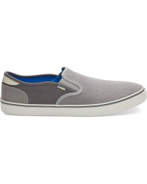 Drizzle Grey And Shade Heritage Canvas Mens Baja Slip-Ons