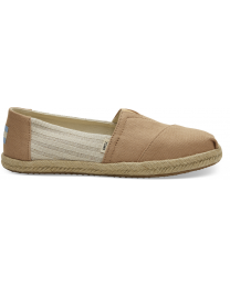 Toffee Canvas Striped Women's Espadrilles