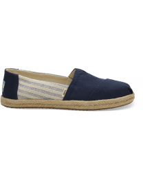 Navy Canvas Striped Women's Espadrilles